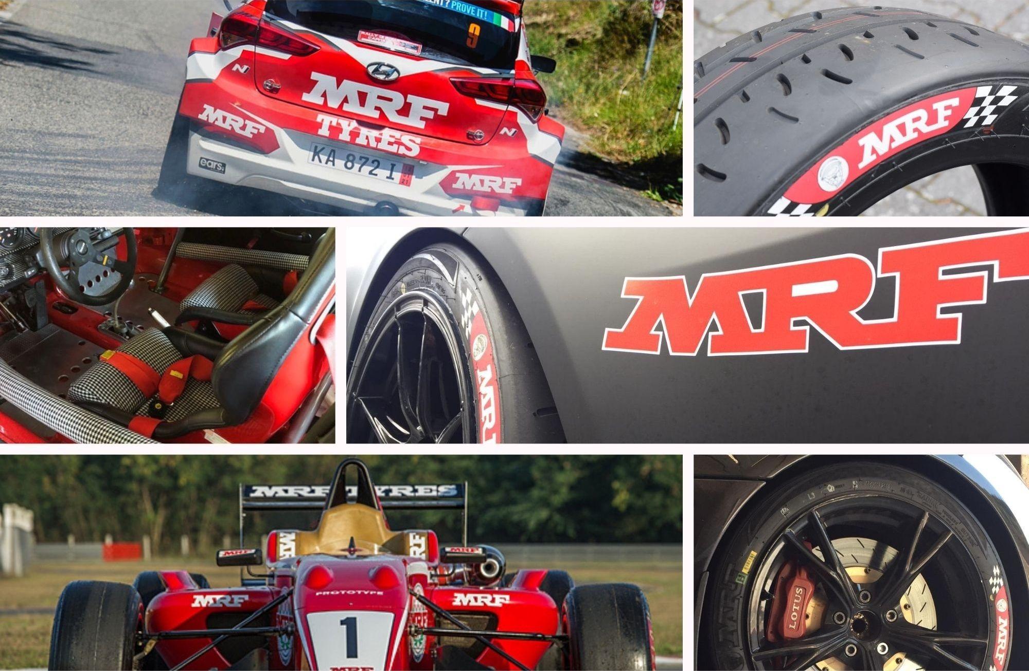 Collage von Renneinsätzen mit MRF-Reifen